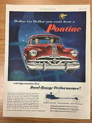 RARE 1952 PONTIAC 'Dollar For Dollar Series' Large Colour Vintage Car Advert L18