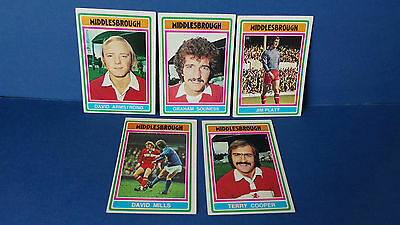 5 x Topps Chewing Gum Cards Middlesbrough Football Club 1975/76 Blue Back