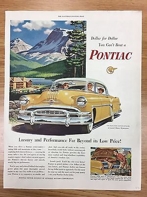 RARE 1954 PONTIAC 'Dollar For Dollar Series' Large Colour Vintage Car Advert L27