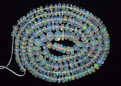 """17"""" Stunning Natural Ethiopian Welo Fire Opal Smooth Rondelle Beads EB1547"""