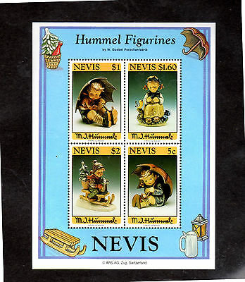 NEVIS #845a  HUMMEL FIGURINES S/S OF 4   MINT  VF NH