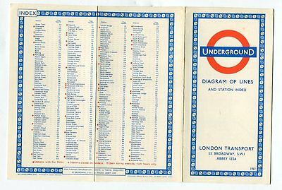 London Transport Underground: Diagram of Lines: card map: 1961 (9/61)