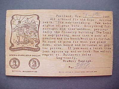 Lewis & Clark 1905 Wooden Postcard, Shows Official Gold Dollars