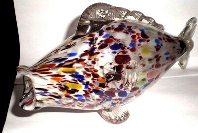 Vintage Murano Marbled Glass Fish - Venice (78)
