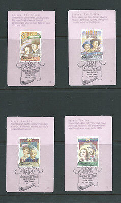 Australia 1989 stage and screen stamps on 4 mini stamp cards