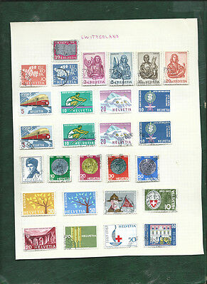 Switzerland Helvetia 1960s 62 MH and used stamps on pages