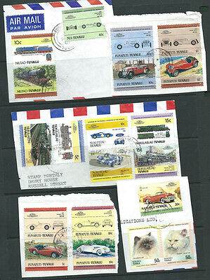 Tuvalu trains and cars stamps used on piece 38 stamps