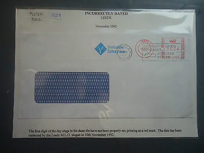 great britain 1992 meter mail incorrectly dated leeds used