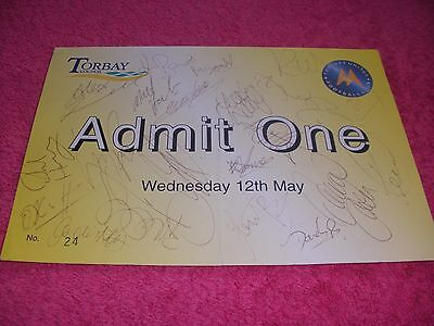 Torquay United 20 (Approx) Autographs On Promotion Party Ticket.  12/5/2004.