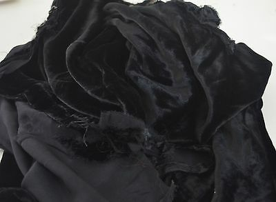 Beautiful Antique Black Silk Velvet Fragments Ss578