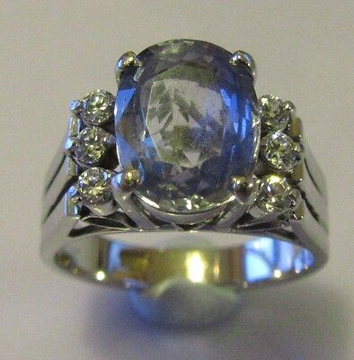 Secondhand 18Ct White Gold Oval Aquamarine Diamond Cluster Ring Size J.