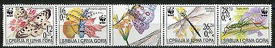 048 SERBIA and  MONTENEGRO 2004 - FAUNA WWF - Butterflies - Insects -MNH(**) Set