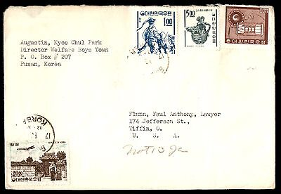 1960S Korea Commercial Cover 4 Stamps To United States