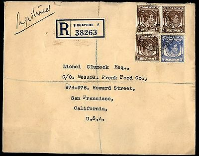 1938 Singapore Registered Cover 4 Stamps To United States