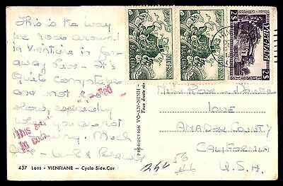 1965 Vietnam Postcard 3 Stamps To United States