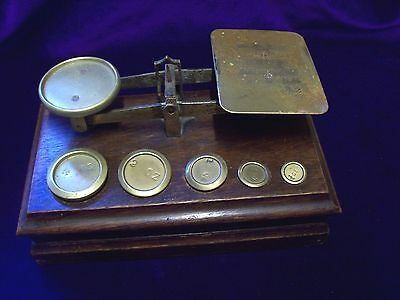 Early 20Th Century/oak And Brass/letter Cales And Weights