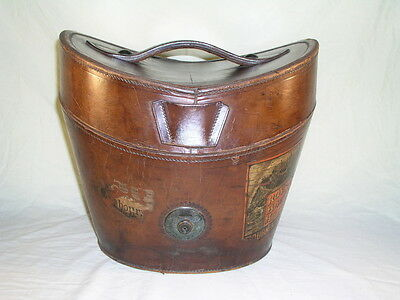 Antique Leather Top Hat box with old label Royal Bath Hotel Bournemouth