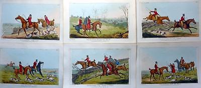 FOX HUNTING SIX GENUINE AQUATINTS  BY HENRY ALKEN ORIGINAL HAND COLOUR  c1825