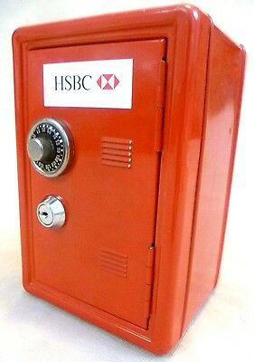 Collectable Money Box -Unused 18cm Promotional HSBC Dial/Key Lock Red Metal Safe