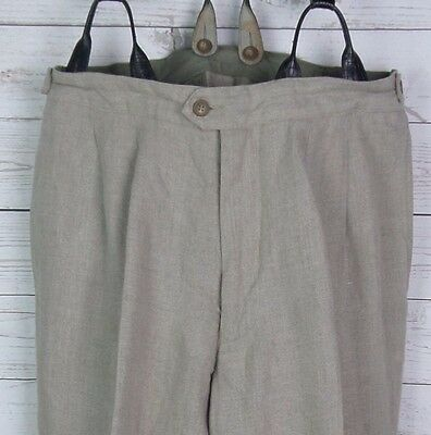 Vtg Pleated Linen Oatmeal Trousers Brace Buttons Turn Ups 80s 40s W30 L32 DN41