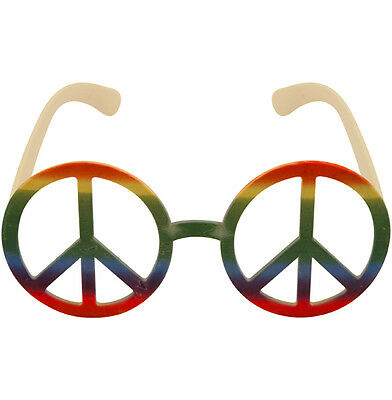 Rainbow Peace Sign Hippy Glasses Sunglasses No Lens Retro Hippie Fancy Dress