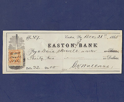 1865 Check With Revenue Stamp From Easton Bank, Easton, Pennsylvania