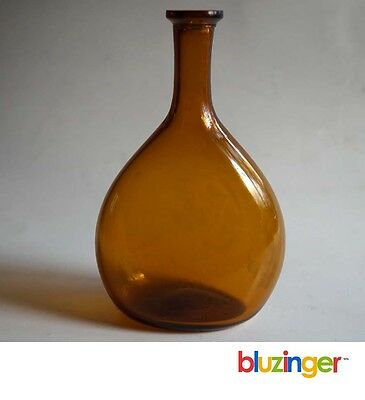 "Freeblown Honey Amber Chestnut Bottle w/ Unusual Lip 5.5"" Tall G-19"