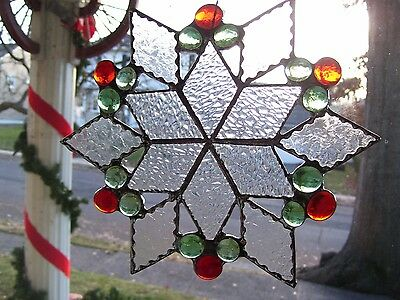 Stained Glass Christmas Snow Flake Sun-catcher ( Real Glass)