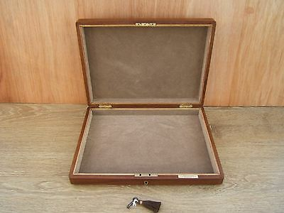 Lovely 19C Solid Walnut Antique Document/ Jewellery Box - Fab Interior
