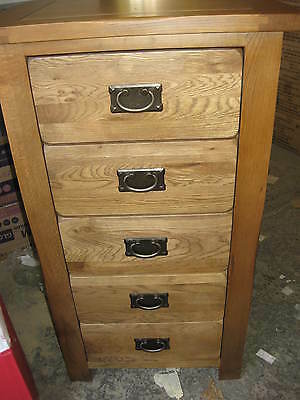 Rustic Oak Chest Of 5 Drawers Solid Wood Tallboy Narrow Tall Brand New Uk