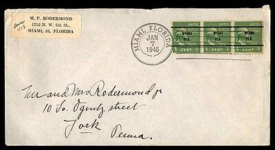 Miami Florida Jan 7 1946 Precancel On Cover With Coil Strip Of 3 To York Pa