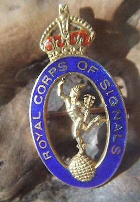 Royal Corps of Signals Enamel 9 kt ct Gold Brooch Pin Sweetheart Jimmy