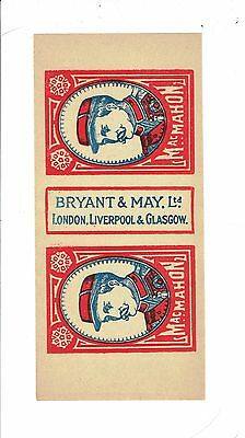 1 Old Bryant & May's c1900  matchbox label General MacMahon size 152x70mm.