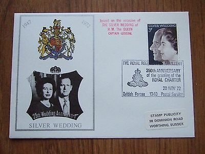 """1972 WEDDING COVER with """" ROYAL ARTILLERY """" BRITISH FORCES HANDSTAMP - FREE POST"""