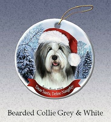 Dear Santa Define Naughty Ornament - Bearded Collie HO026