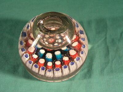 Antique English Glass Paperweight Inkwell Contentric Millefiori Canes 19th C