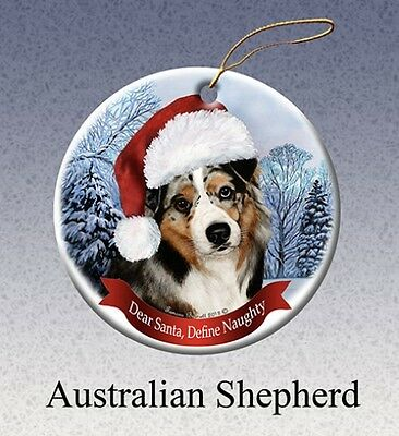 Dear Santa Define Naughty Ornament - Blue Merle Australian Shepherd HO005