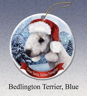 Dear Santa Define Naughty Ornament - Blue Bedlington Terrier HO014