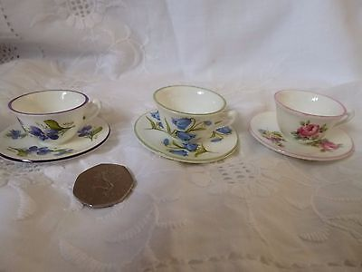 3 x CROWN STAFFORDSHIRE MINIATURE CUPS & SAUCERS