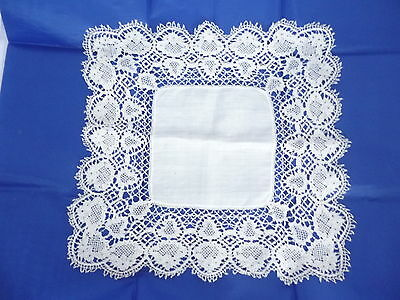 "antique (bridal ?) handkerchief with deep handmade bobbin lace edging 12""x12"""