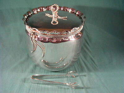 Vintage Silver Plated Ice Bucket and Tongs