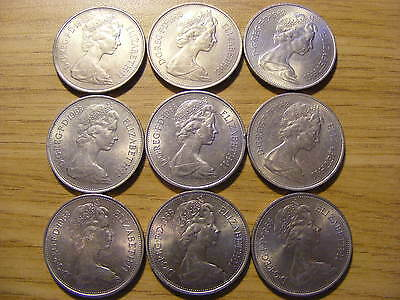A Collection of 9 large Ten Pence Coins all 1968 - all good condition