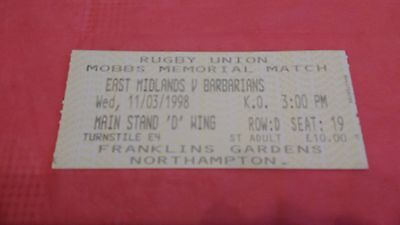 East Midlands v Barbarians 1998 Used Rugby Ticket