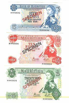 1978 Bank Of Mauritius Specimen Notes: 5, 10, 25, 50 Rupees - Unc