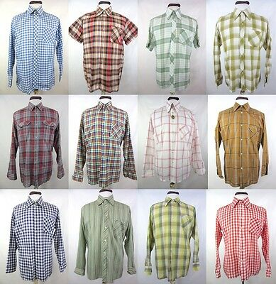 12 X Vintage Check Shirts Dagger Collar 70's 80's Joblot Wholesale Clearance