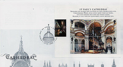 First Day Cover to celebrate Cathedrals and the cover contains a mini sheet.
