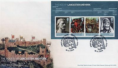 GB First Day Cover to celebrate Lancaster and York with mini sheet