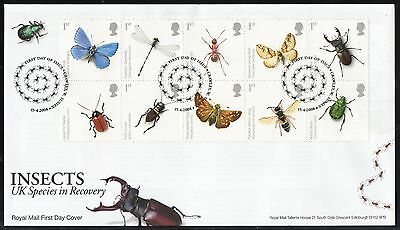 GB First Day Cover Insects - Action for Species 2nd  Series issued in 2008.