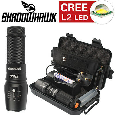 Genuine Shadowhawk X800 Tactical Flashlight 5000lm LED L2 Military Torch Battery