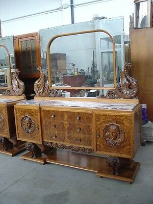 Great Art Deco Period Marble Top Burled Walnut Carved  Italian Sideboard